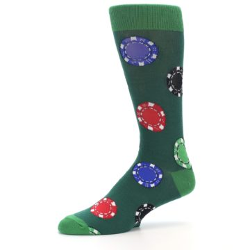 Image of Green Casino Poker Chips Men's Dress Socks (side-2-10)