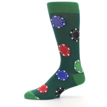 Image of Green Casino Poker Chips Men's Dress Socks (side-2-11)