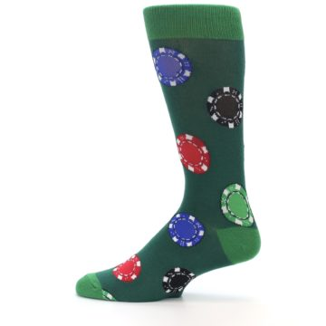 Image of Green Casino Poker Chips Men's Dress Socks (side-2-12)