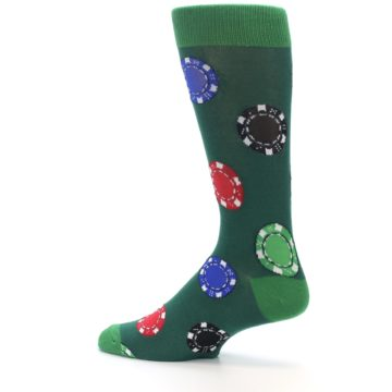 Image of Green Casino Poker Chips Men's Dress Socks (side-2-13)
