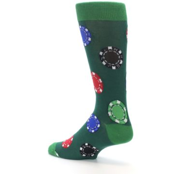 Image of Green Casino Poker Chips Men's Dress Socks (side-2-back-14)