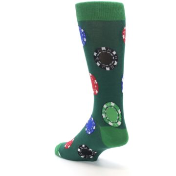 Image of Green Casino Poker Chips Men's Dress Socks (side-2-back-15)