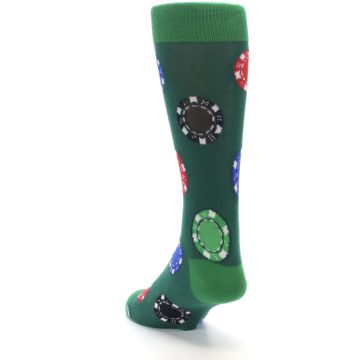 Image of Green Casino Poker Chips Men's Dress Socks (side-2-back-16)