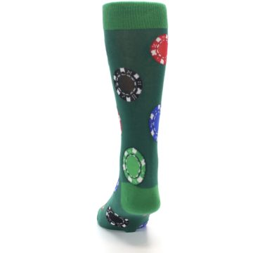 Image of Green Casino Poker Chips Men's Dress Socks (back-17)