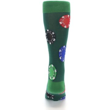 Image of Green Casino Poker Chips Men's Dress Socks (back-18)