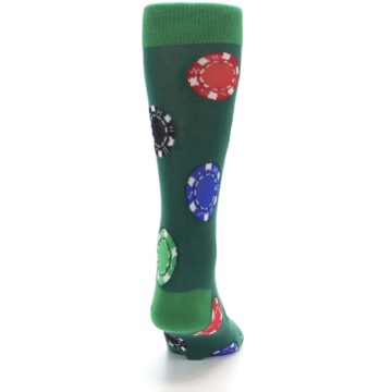Image of Green Casino Poker Chips Men's Dress Socks (back-19)