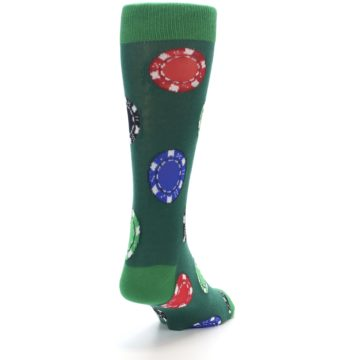 Image of Green Casino Poker Chips Men's Dress Socks (side-1-back-20)