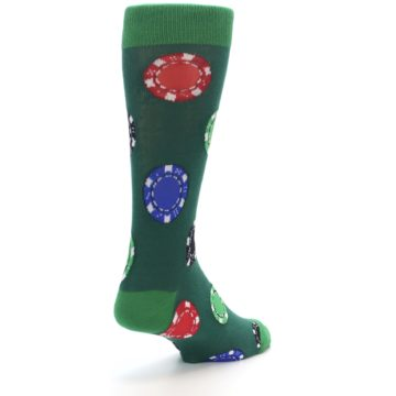 Image of Green Casino Poker Chips Men's Dress Socks (side-1-back-21)