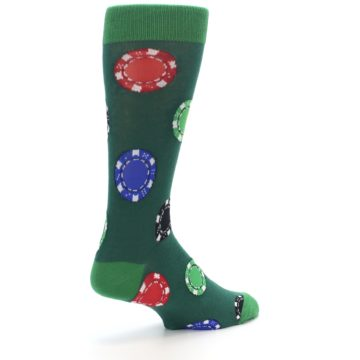 Image of Green Casino Poker Chips Men's Dress Socks (side-1-back-22)