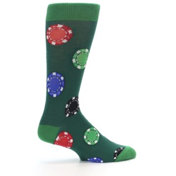 Image of Green Casino Poker Chips Men's Dress Socks (side-1-24)