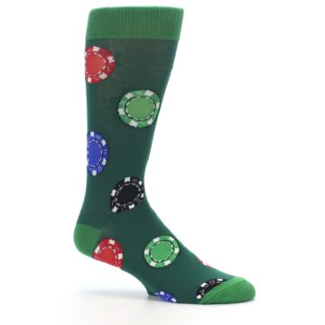 Image of Green Casino Poker Chips Men's Dress Socks (side-1-25)