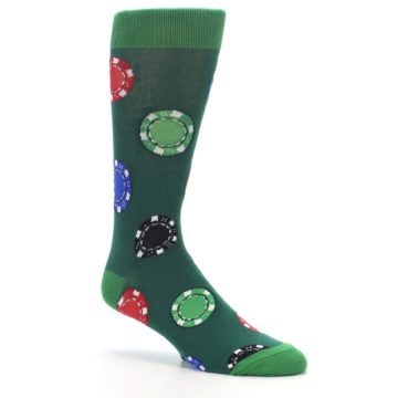 Image of Green Casino Poker Chips Men's Dress Socks (side-1-26)