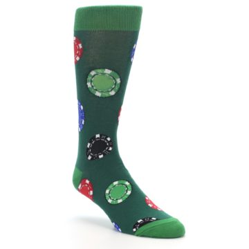 Image of Green Casino Poker Chips Men's Dress Socks (side-1-27)