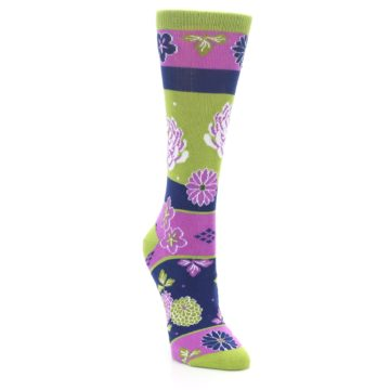 Image of Green Purple Chrysanthemum Women's Dress Socks (side-1-front-02)
