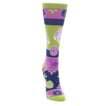 Image of Green Purple Chrysanthemum Women's Dress Socks (side-1-front-03)