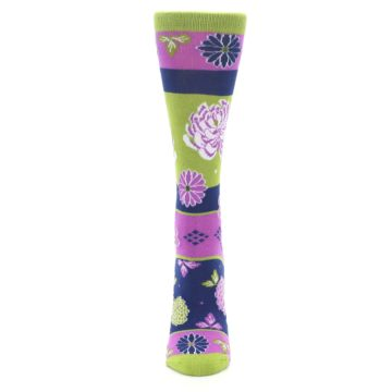 Image of Green Purple Chrysanthemum Women's Dress Socks (front-05)