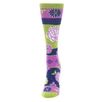 Image of Green Purple Chrysanthemum Women's Dress Socks (side-2-front-06)