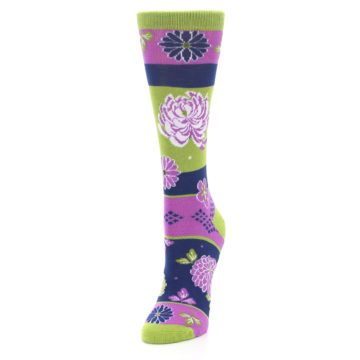 Image of Green Purple Chrysanthemum Women's Dress Socks (side-2-front-07)