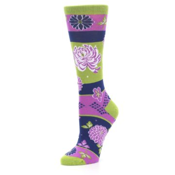 Image of Green Purple Chrysanthemum Women's Dress Socks (side-2-09)