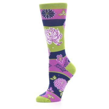 Image of Green Purple Chrysanthemum Women's Dress Socks (side-2-10)