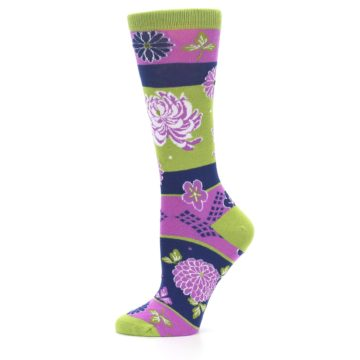 Image of Green Purple Chrysanthemum Women's Dress Socks (side-2-11)