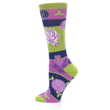 Image of Green Purple Chrysanthemum Women's Dress Socks (side-2-12)