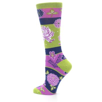 Image of Green Purple Chrysanthemum Women's Dress Socks (side-2-13)