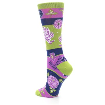 Image of Green Purple Chrysanthemum Women's Dress Socks (side-2-back-14)