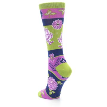 Image of Green Purple Chrysanthemum Women's Dress Socks (side-2-back-15)