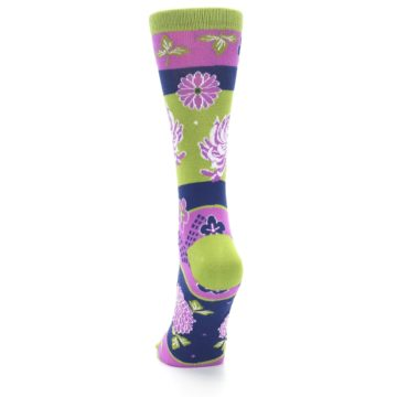 Image of Green Purple Chrysanthemum Women's Dress Socks (back-17)