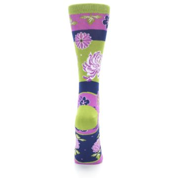 Image of Green Purple Chrysanthemum Women's Dress Socks (back-19)