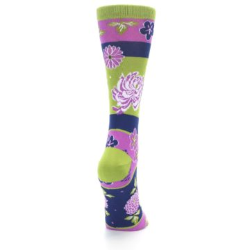 Image of Green Purple Chrysanthemum Women's Dress Socks (side-1-back-20)