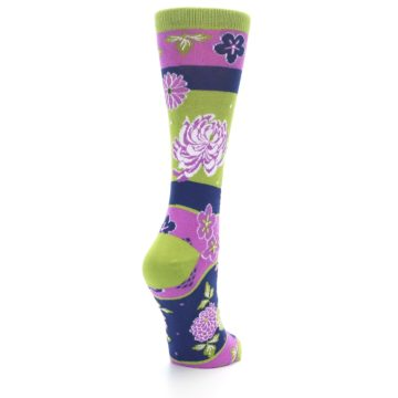 Image of Green Purple Chrysanthemum Women's Dress Socks (side-1-back-21)