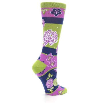 Image of Green Purple Chrysanthemum Women's Dress Socks (side-1-23)