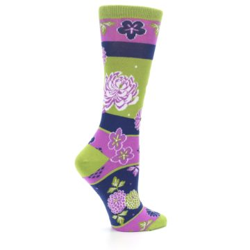 Image of Green Purple Chrysanthemum Women's Dress Socks (side-1-24)