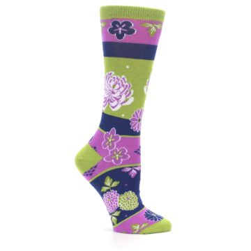 Image of Green Purple Chrysanthemum Women's Dress Socks (side-1-25)