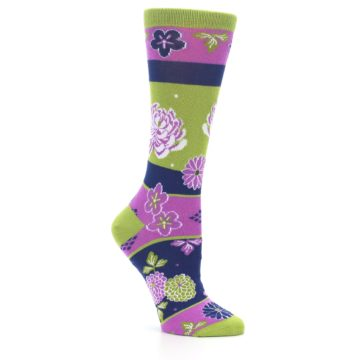 Image of Green Purple Chrysanthemum Women's Dress Socks (side-1-26)