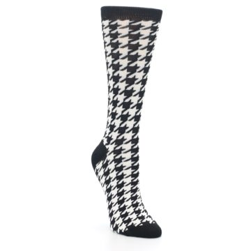 Image of Black White Houndstooth Bamboo Women's Dress Socks (side-1-front-02)