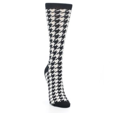 Image of Black White Houndstooth Bamboo Women's Dress Socks (side-1-front-03)