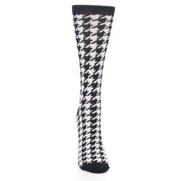 Image of Black White Houndstooth Bamboo Women's Dress Socks (front-04)
