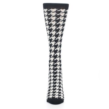 Image of Black White Houndstooth Bamboo Women's Dress Socks (front-05)