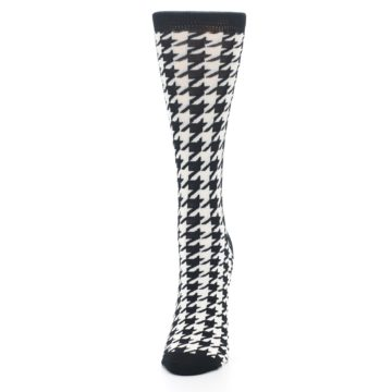 Image of Black White Houndstooth Bamboo Women's Dress Socks (side-2-front-06)