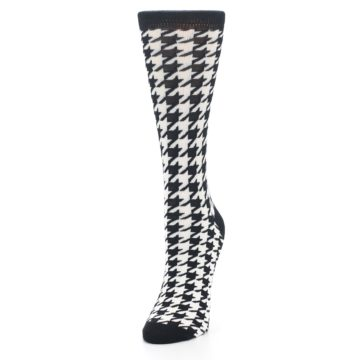 Image of Black White Houndstooth Bamboo Women's Dress Socks (side-2-front-07)