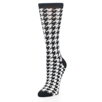 Image of Black White Houndstooth Bamboo Women's Dress Socks (side-2-front-08)