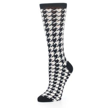 Image of Black White Houndstooth Bamboo Women's Dress Socks (side-2-09)