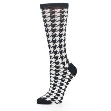 Image of Black White Houndstooth Bamboo Women's Dress Socks (side-2-10)