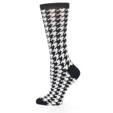 Image of Black White Houndstooth Bamboo Women's Dress Socks (side-2-12)