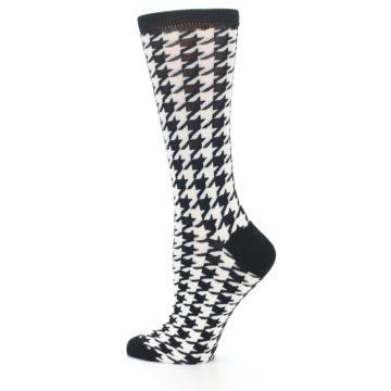 Image of Black White Houndstooth Bamboo Women's Dress Socks (side-2-13)