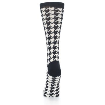 Image of Black White Houndstooth Bamboo Women's Dress Socks (back-18)