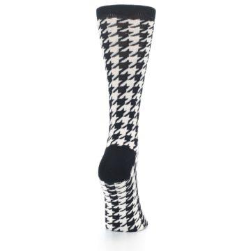Image of Black White Houndstooth Bamboo Women's Dress Socks (side-1-back-20)